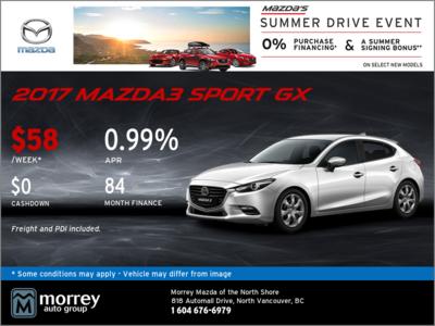 Get a 2017 Mazda3 Sport GX Today!