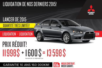 Mitsubishi Lancer DE 2015 en rabais !