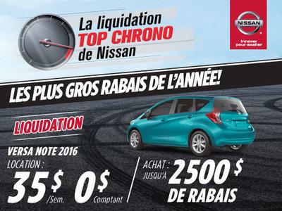La liquidation top chrono de Nissan:  Versa Note 2016