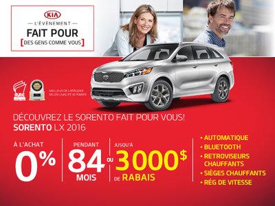 Le Kia Sorento 2016 fait pour vous!