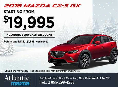 Save on the 2016 Mazda CX-3 GX today!