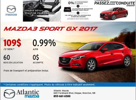 Mazda3 Sport GX 2017 en rabais!