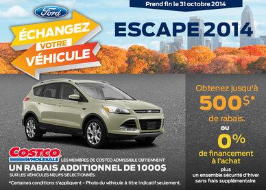 Le Ford Escape S 2014 avec un rabais de 500$