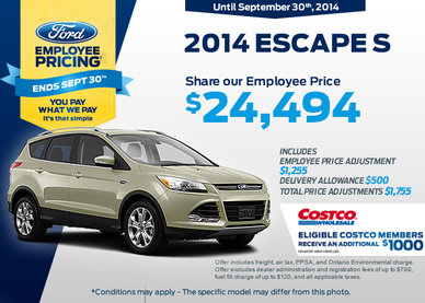The 2014 Ford Escape S is now $24,494