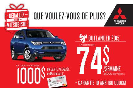 Mitsubishi Outlander 2015: à compter de 74$ par semaine