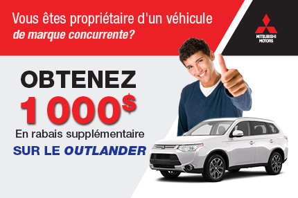 Mitsubishi Outlander 2015 avec rabais de 1000$