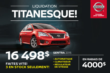 Liquidation titanesque: Nissan Sentra 2015