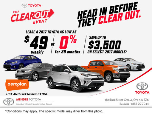 Mendes Toyota's 2017 Clearout Event!