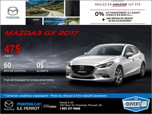 Obtenez la Mazda3 2017 aujourd'hui!