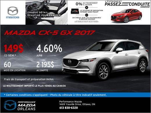 Mazda CX-5 GX 2017 en location chez Performance Mazda à Ottawa