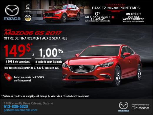 Procurez-vous la Mazda6 2017 aujourd'hui! chez Performance Mazda à Ottawa