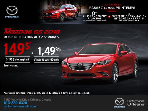 Procurez-vous la Mazda6 2018 aujourd'hui! chez Performance Mazda à Ottawa
