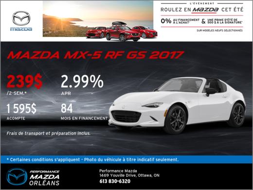 La toute nouvelle Mazda MX-5 RF GS 2017! chez Performance Mazda à Ottawa