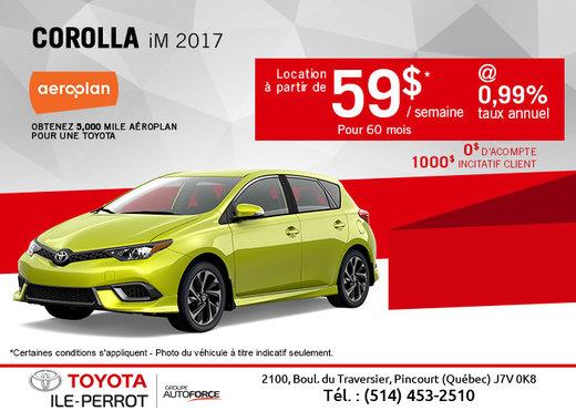 La Corolla iM 2017 en location!