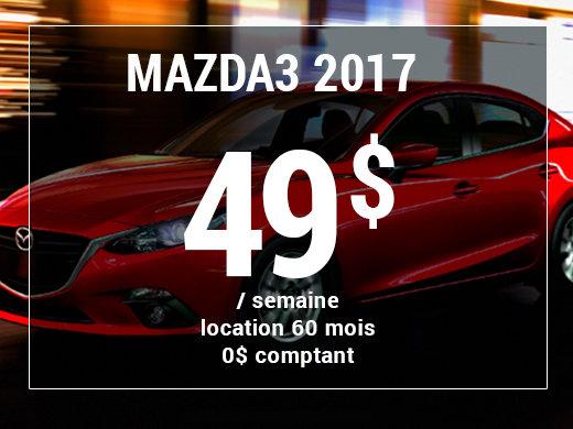 Roulez en Mazda3 GX 2017 à partir de 49$ / semaine chez Prestige Mazda à Shawinigan