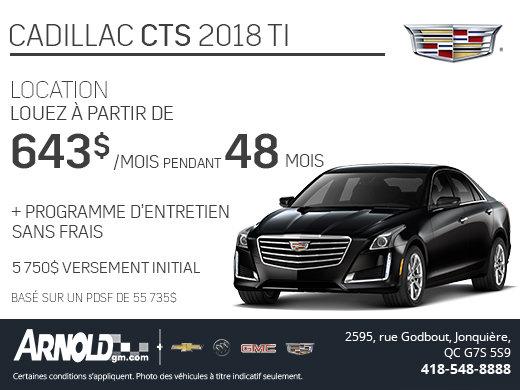 Obtenez le Cadillac CTS 2018, entretien sans frais