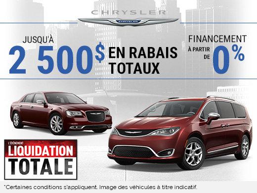 2 500$ en rabais totaux - Chrysler