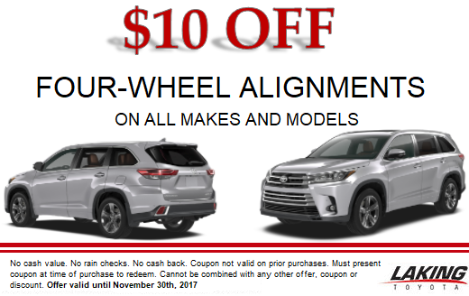 Save $10 on Four-Wheel Alignments