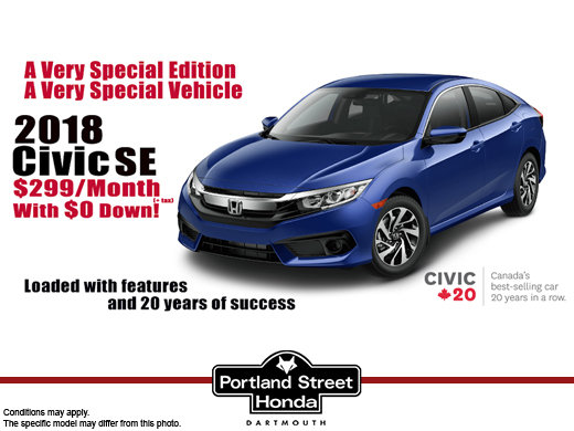 2018 Civic SE only $299/month (+tax) with $0 Down!