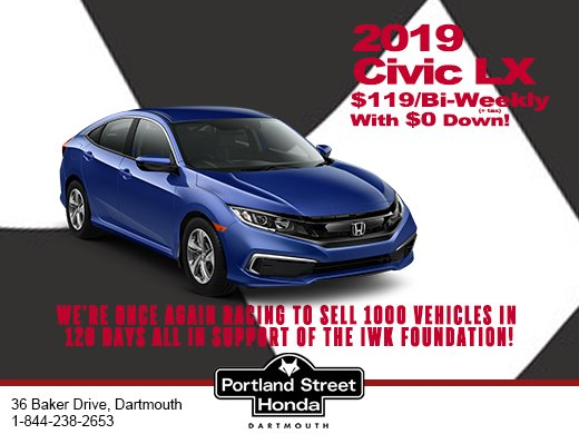2019 Honda Civic LX only $119 bi-weekly with $0 Down!