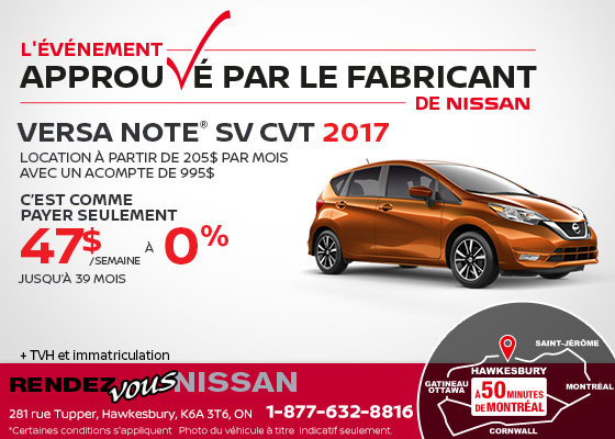Obtenez la Nissan Versa Note 2017!