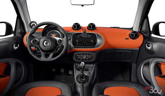 Black/orange fabric upholstery