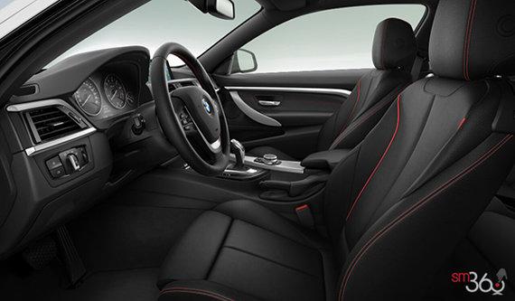 Black Dakota leather enhanced with red