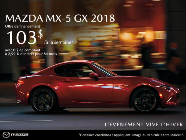 Procurez-vous la Mazda MX-5 2018 aujourd'hui!