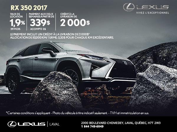 Louez la nouvelle Lexus RX 350 2017 dès aujourd'hui!