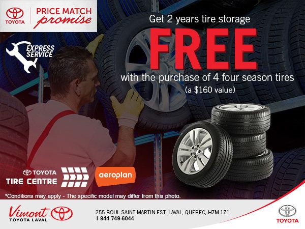 2-Years Tire Storage FREE