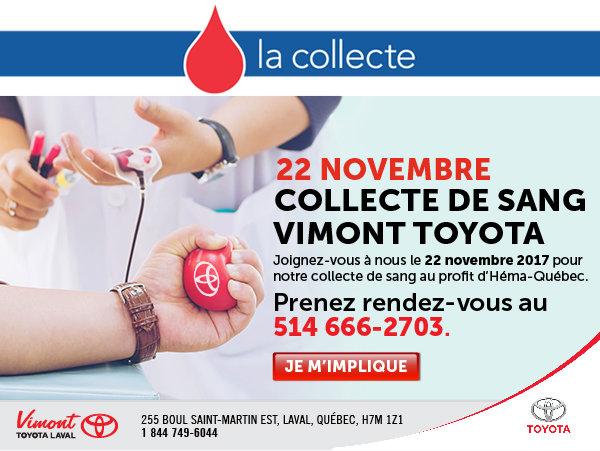 Collecte de sang Vimont Toyota Laval - 514 666-2703