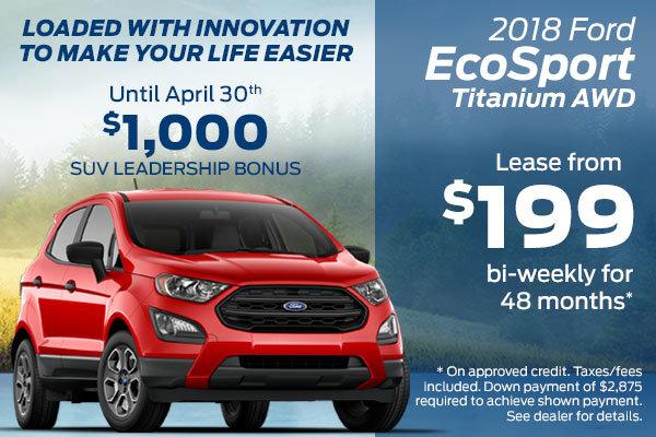 Lease the 2018 Ford EcoSport Titanium AWD