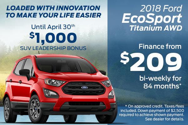 Finance the 2018 Ford EcoSport Titanium AWD