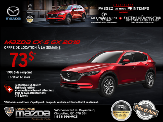 Obtenez la Mazda CX-5 2018 aujourd'hui!
