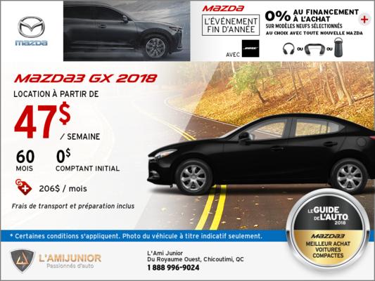 Obtenez la Mazda3 2018