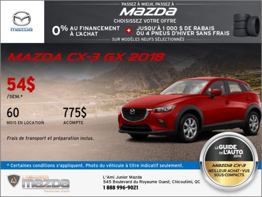 Obtenez la toute nouvelle Mazda CX-3 2018