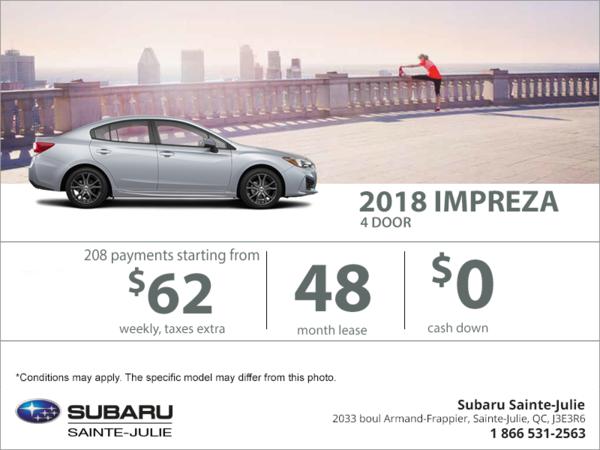 Lease the 2018 Impreza 4-door today!