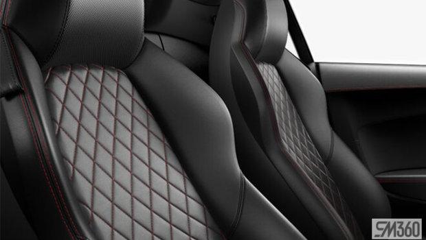 Black Nappa Leather Sport Seats/Express Red Diamond Stitch