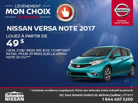 Nissan Versa Note 2017 en rabais!