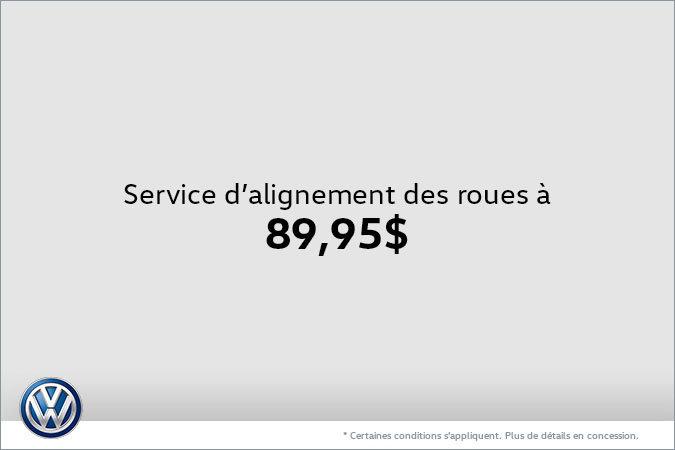 Service d'alignement des roues à 89,95$