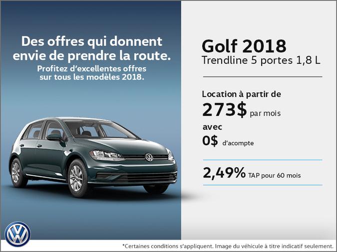 Obtenez le Golf 5 portes 2018 dès aujourd'hui