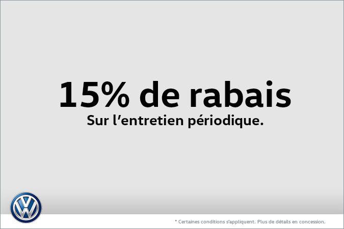15% de rabais sur l'entretien périodique