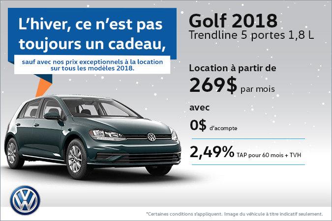 Le Golf 5 portes 2018 en rabais