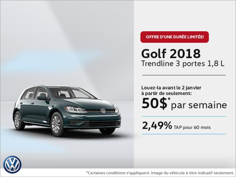 Conduisez la Golf 3 portes 2018 dès aujourd'hui!
