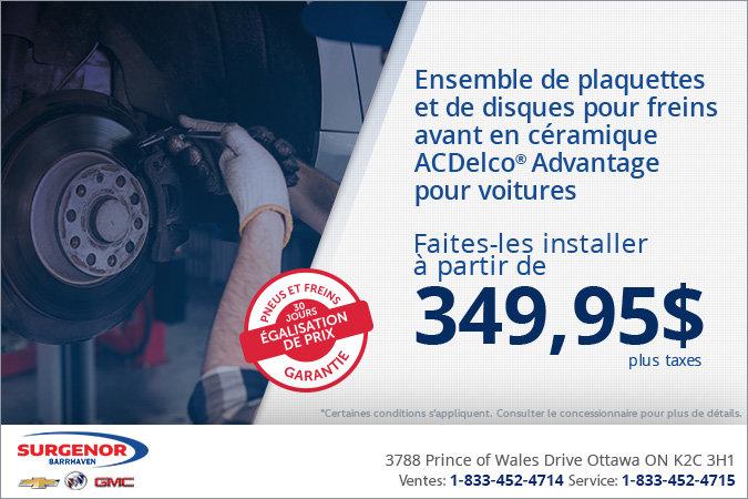 Plaquettes et disques de freins avant ACDelco Advantage