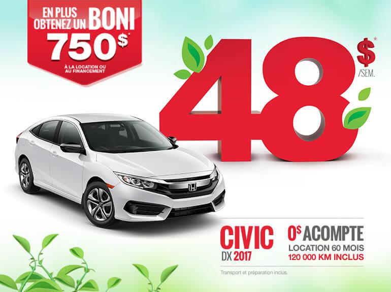 Louez la nouvelle Honda Civic 2017 aujourd'hui!