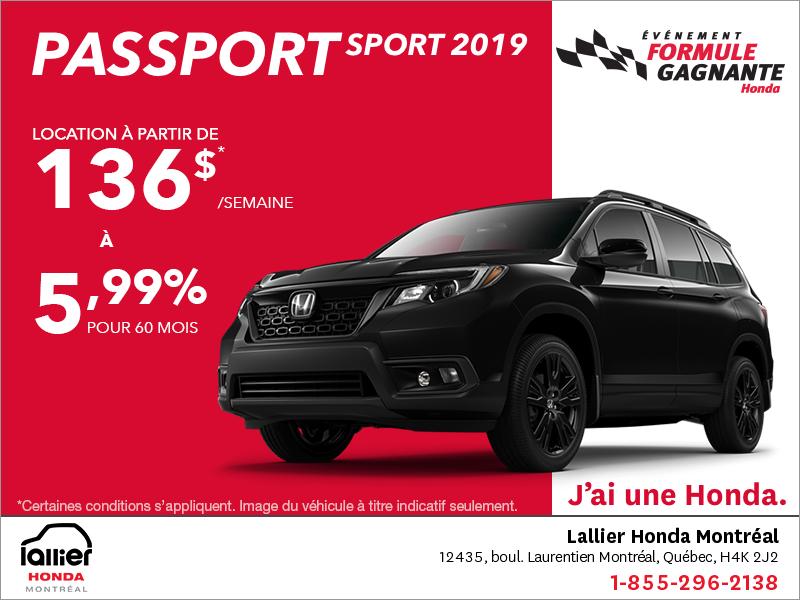 Louez le Honda Passport Sport 2019!