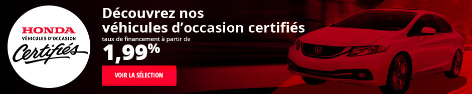 Véhicules d'occasion Honda certifiés